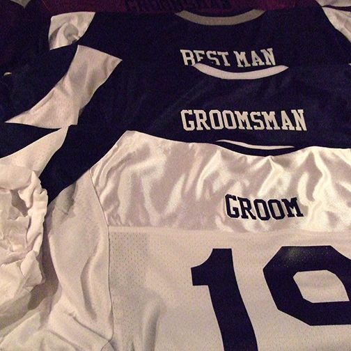 #Groom and groomsmen #wedding #football #jerseys. Fun idea for football themed wedding or bachelor party attire. Celebrate your love of Football by adorning a complete set and kick of your wedding with a trip to your favorite team event.
