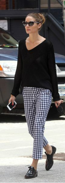 Olivia Palermo rocks both the grunch and check trend.