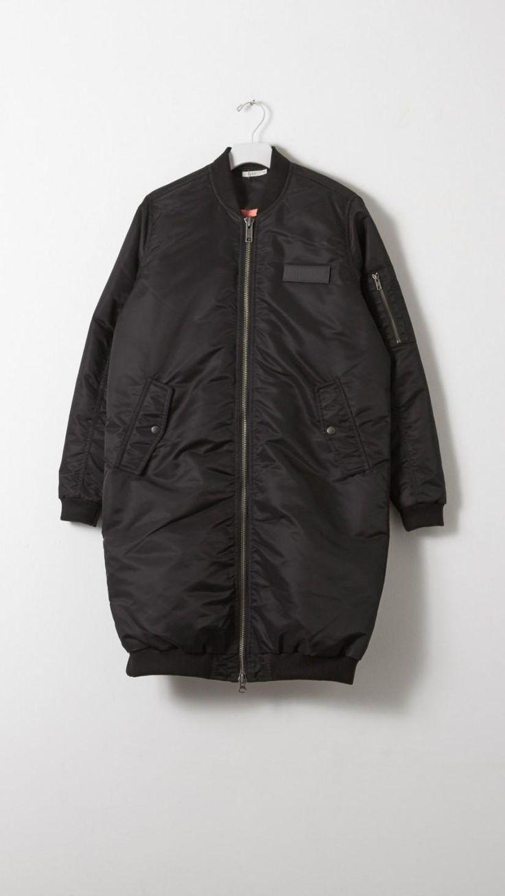 6397 Long Bomber Coat in Black | The Dreslyn