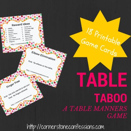 Table Taboo  A Table Manners Game Free Printable Pinterest