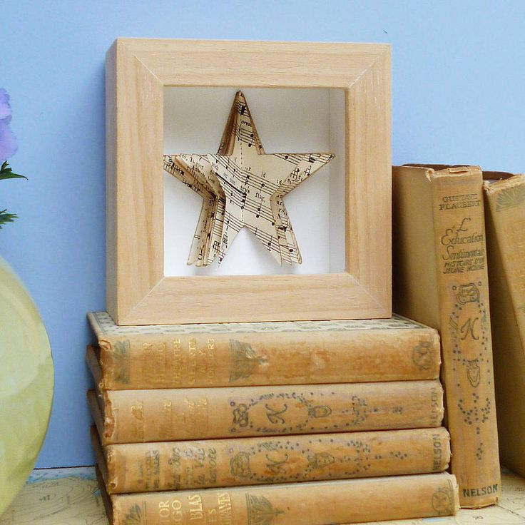 I've just found Handmade Music Star Book. This is a delightful, handmade picture created from vintage music and stitched into a star shaped book.. £40.00