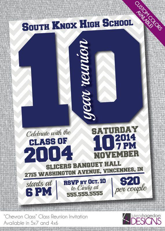 Class Reunion Invitation - Chevron School Colors on Etsy, $18.50