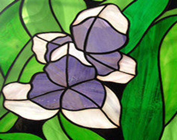 Iris Stained Glass Window Panel Hanging Flower Suncatcher Floral