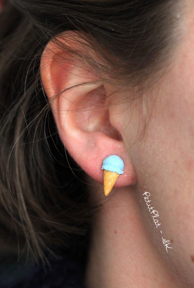 Ohrstecker - Eiskrem Ohrringe - Pastelltöne Blau, Rosa, Türkis - ein Designerstück von PetitPlat bei DaWanda