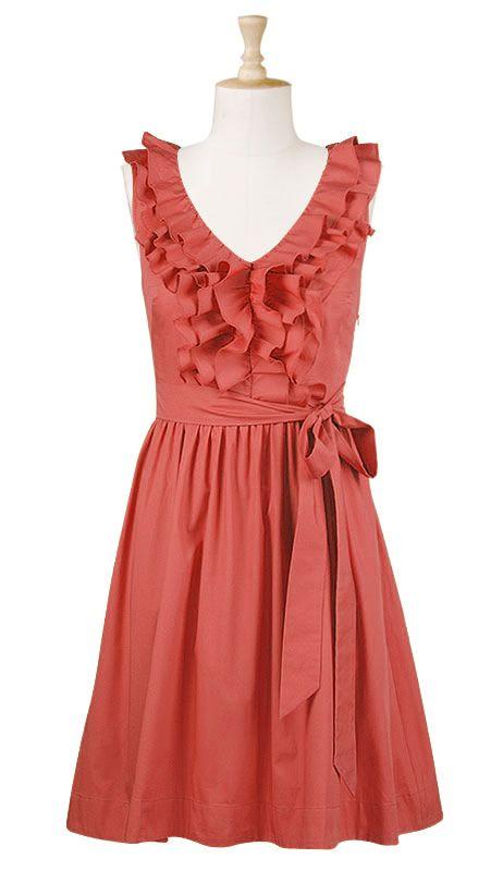 Ruffle front poplin dress