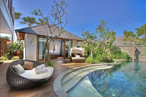 Awesome wood decking around the pool
