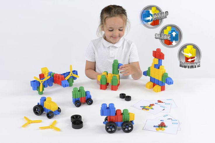 SN-21 Snapo Junior Class Set - 100 pieces Snap, slide and rotate! Snapo is the revolutionary new construction product that will excite children of all ages.  Build in any direction with these brightly coloured blocks that simply snap, slide or slot together.  Each set includes a wide selection of different pieces to stimulate your imagination. Includes Snapo blocks, wheels, propellers and much more.  Manufactured in the USA from the highest quality materials to create a durable product that…