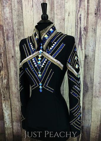 Black, Gold and Blue Horsemanship Shirt by KLS Designs ~ Ladies XS/Small