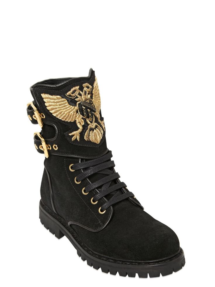 Balmain 20mm Eagle Suede Combat Boots in Gold (BLACK/GOLD)