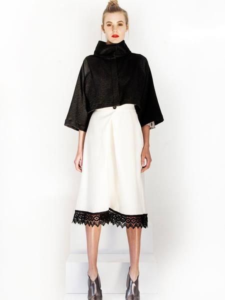 Black Evening Jacket / Cream wrap skirt with lace trim