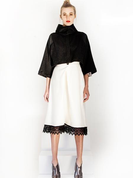 Black Evening Jacket / Cream wrap skirt with lace trim