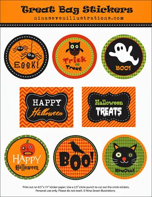 free printable halloween bag stickers on we love to illustrate halloween fun - Free Printables For Halloween