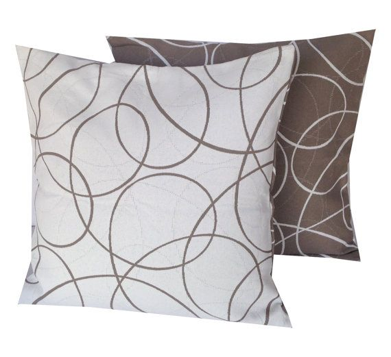 Outdoor Pillows, Taupe White Pillow Cover, Patio Cushion Cover, Brown White  Pillow Case