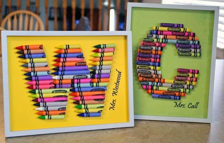 Crayon Monograms for teachers gifts
