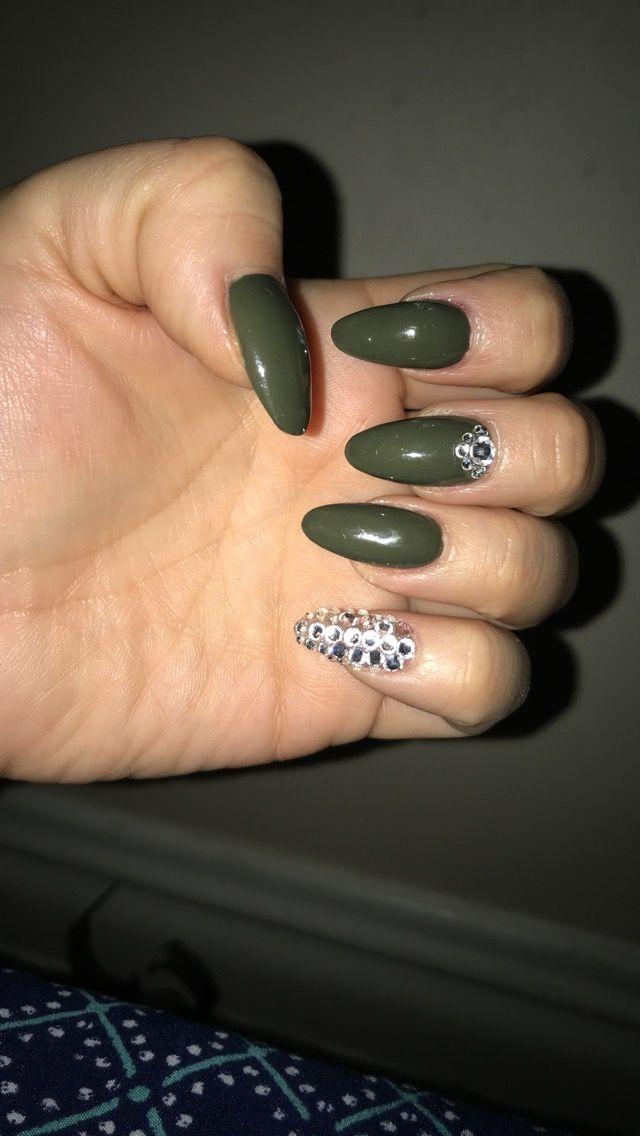 Olive green almond nails with rhinestone | nail idea | Pinterest ...