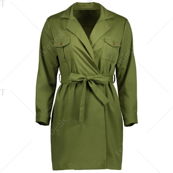 Wrap Long Sleeve Shirt Dress (303.770 IDR) ❤ liked on Polyvore featuring dresses, t-shirt dresses, wrap shirt dress, green shirt dress, green long sleeve dress and long-sleeve shirt dresses