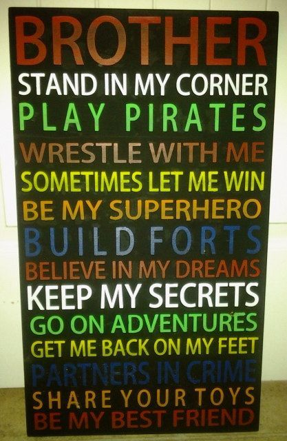 awesome boys room signs, brother signs, boys bedroom, colorful signs, wall art, playroom... by http://www.besthomedecorpics.us/boy-bedrooms/boys-room-signs-brother-signs-boys-bedroom-colorful-signs-wall-art-playroom/