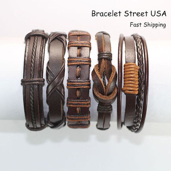 5pc Handmade Leather Bracelet Set as Shown in Picture Material: Leather and Hemp Color: Like Pictures Size: Length with closure is 7 to 10