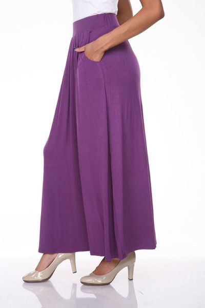 Purple Maxi Skirt with Pockets