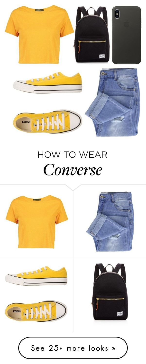"""""""Untitled #462"""" by arcarmona-ac on Polyvore featuring Taya, Boohoo, Converse, Herschel Supply Co. and Apple"""
