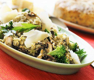 Recept: Risotto med svamp och broccoli