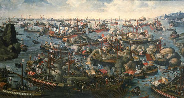 7.10.1571.Battle of Lepanto. unknown artist,late 16th cent.Gulf of Patras,Ionian Sea.Result-Decisive Holy League victory. Belligerents, Holy League:      Republic of Venice,Kingdom of Spain,Kingdom of Naples,Kingdom of Sicily,Papal States,Republic of Genoa,Knights of Malta,Grand Duchy of Tuscany,Duchy of Savoy, Duchy of Urbino-Ottoman Empire.