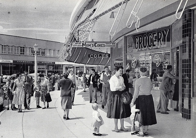 Saturday morning shoppers in Civic, Canberra, c1962