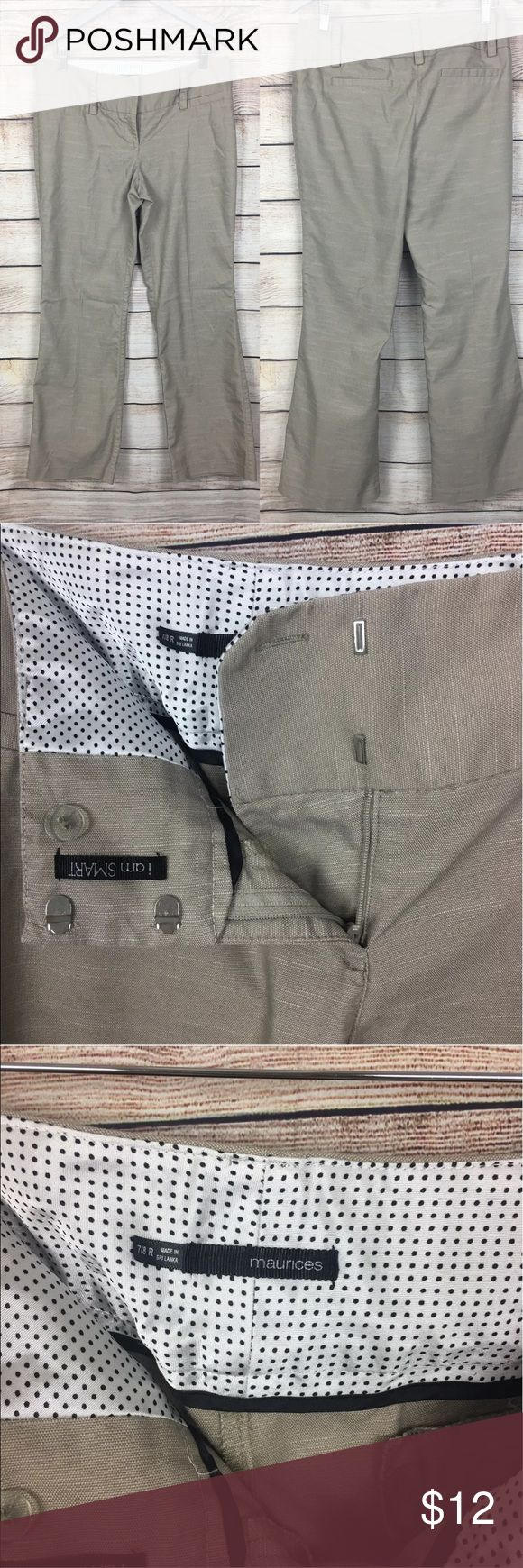 """Maurices Jr. I Am Smart Khaki Trouser Pants Sz7/8R Maurices Juniors I Am Smart Khaki Trouser Pants size 7 / 8 R  No stains or flaws   Rise: 9""""  Waist:34""""  Inseam: 30""""  Leg opening: 10"""" Maurices Pants Straight Leg"""