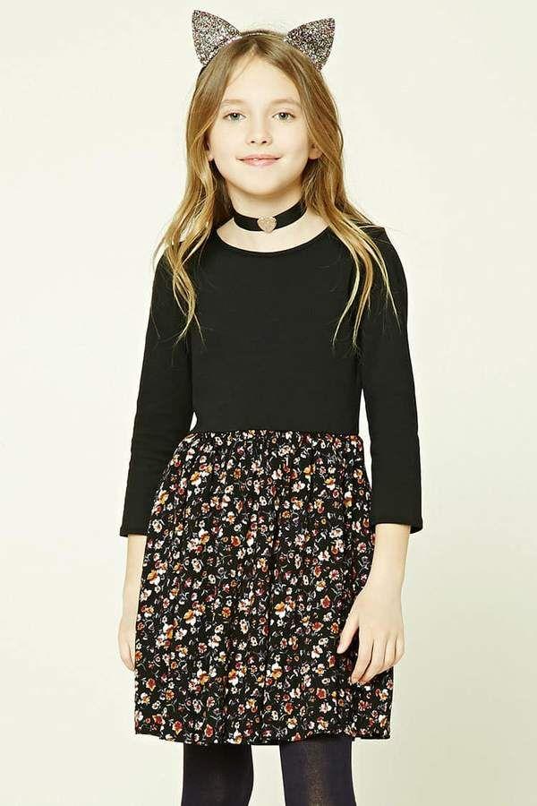 FOREVER 21 girls Girls Combo Floral Dress (Kids)