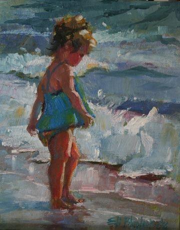 BEACH PIXIE, painting by artist Elizabeth Blaylock