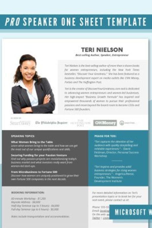 Pro Speaker One Sheet Template Docx Professional Speakers Event Director Speaking Topics