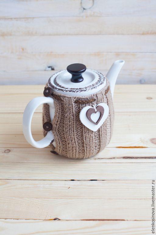 """Купить Чайник с грелкой """"Деревенский"""""""" - белый, кофе с молоком, кофейный, бежевый, чайник, грелка на чайник"""