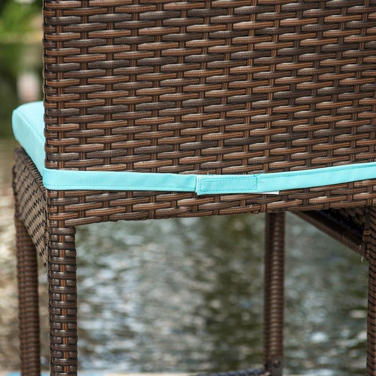 Sundale Outdoor 2 Pcs All Weather Patio Furniture Set Brown Wicker Barstool with Cushions Blue *** Want to know more, click on the image. (This is an affiliate link)