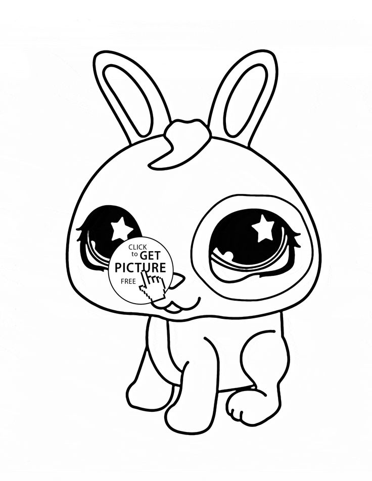 littlest pet shop cute bunny coloring page for kids animal coloring pages printables free