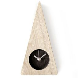 Ash Wood Triangle Design Minimalist Wall Mount Non-Ticking Silent Clock