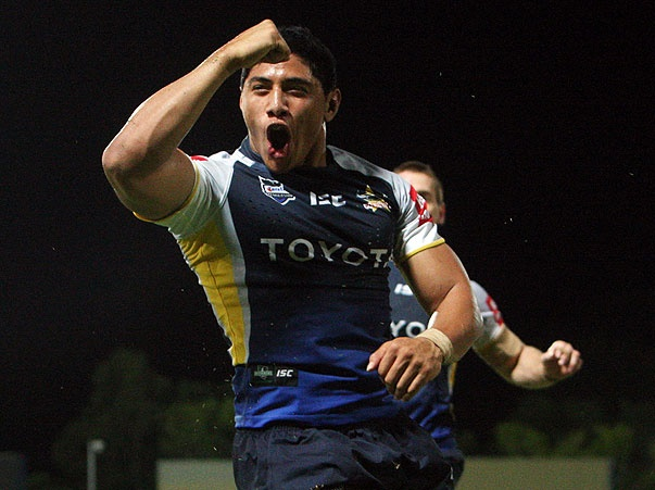 Rd 7 v Roosters: Jason Taumalolo after breaking through to defence to try twice in the 50-12 demolition in Darwin