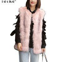 Artı Boyutu 2XL 3XL Faux Kürk Yelek Kadınlar Uzun Saç Düz yelekler Lady Kolsuz Kış Dış Giyim Sahte Tilki Kürk Mantolar Dişiler SWQ0227-4