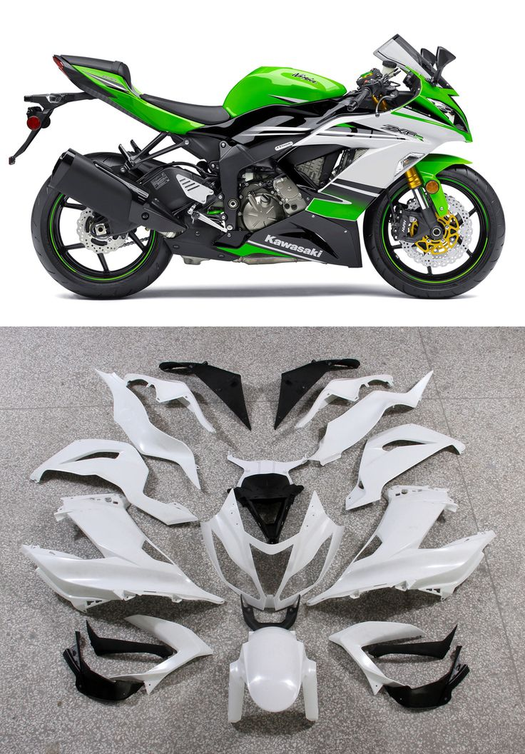 Mad Hornets - Fairings Plastics Kawasaki ZX6R 636 Green White Ninja Racing (2013-2015), $499.99 (http://www.madhornets.com/fairings-plastics-kawasaki-zx6r-636-green-white-ninja-racing-2013-2015/)