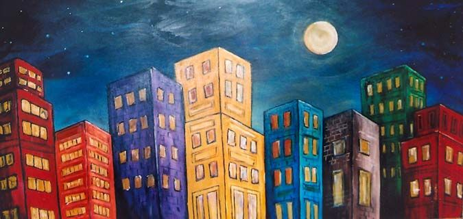 """Moonlight Metropolis © 2009  24"""" x 48"""" acrylic on gallery wrapped canvas SOLD  This was a fun piece to do. I was inspired by illustrations i..."""
