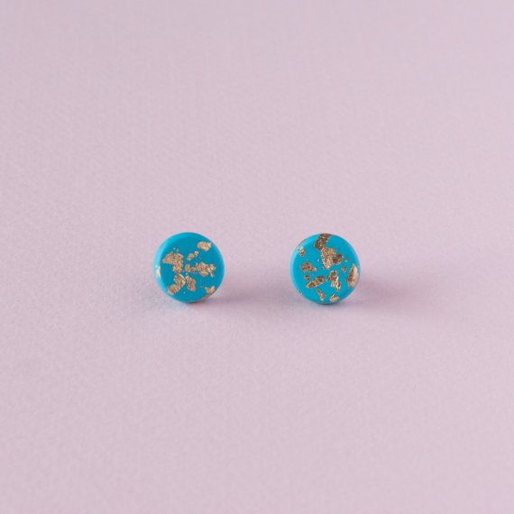 Turquoise Polymer Clay Earrings With Gold Foil by polyjewellery