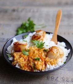 Saint Jacques rôties, riz au curry lait de coco et gingembre