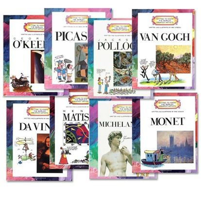 Free downloadable artists' study.  Includes lesson plans, lapbook printables, notebooking, and images.  Artists include Picasso, Van Gogh, Pollock, Moet, Matisse, O'Keefe, Michelangelo, and Da Vinci