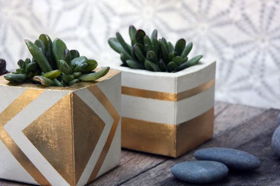 Living room: Square Gold Leaf Cement Planter could DIY something similar with gold leaf on plain pot | Etsy