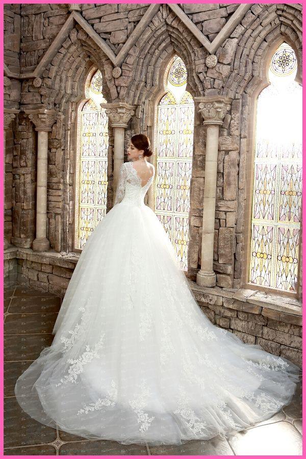 Ed Yh2491 Luxurious Ball Gown Long Sleeve Arabian Lace Liqued Muslim Wedding Dress