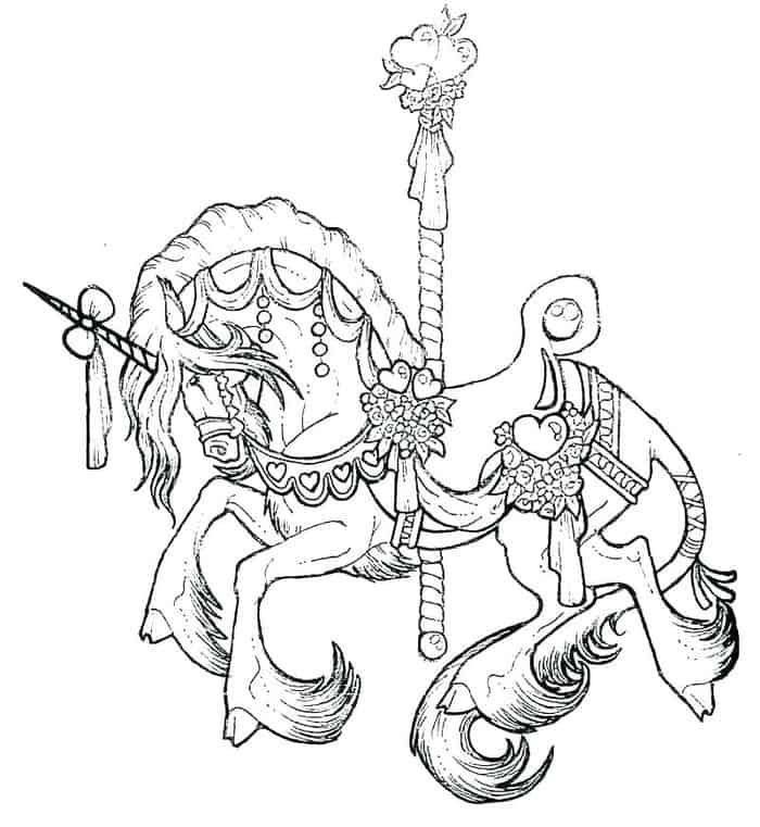 Carousel Horse Coloring Pages From 100 Horse Coloring Pages