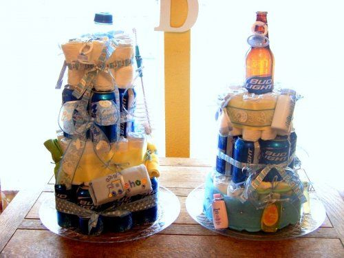 Guy Friendly Baby Shower Ideas - Beer and Diaper Cakes