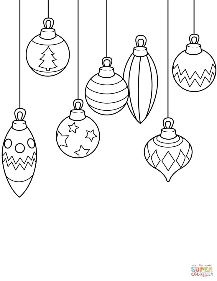 Simple Christmas Ornaments Coloring Page | Free christmas ...