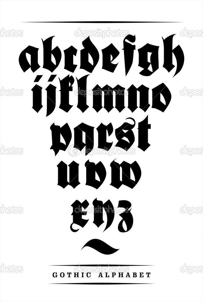 Alfabeto gótico fonte de vetor com decorações - Ilustração de Stock: 35355653