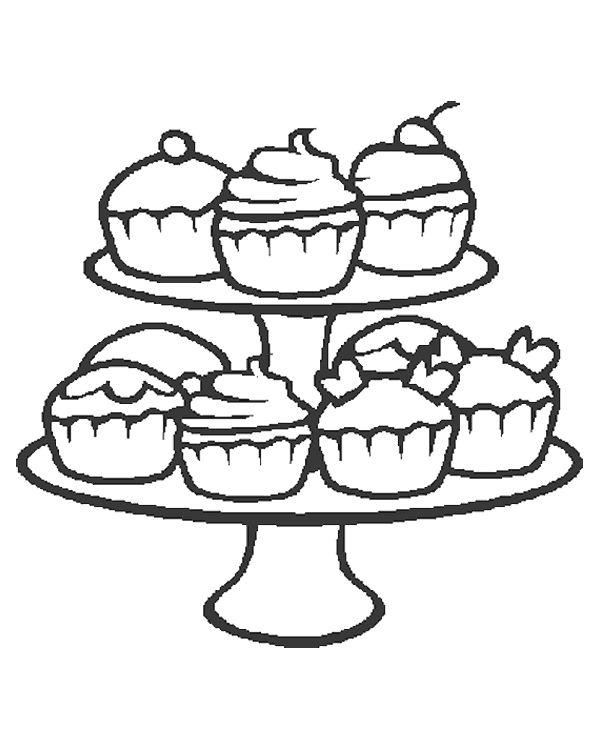 cupcake etagere kleurplaat