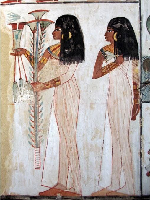 Wall painting in the Tomb of Menna. The Theban Tomb TT69 is located in Sheikh Abd el-Qurna, part of the Theban Necropolis, on the west bank of the Nile, opposite Luxor. Menna lived during the reign of Thutmose IV. Dyn 18.